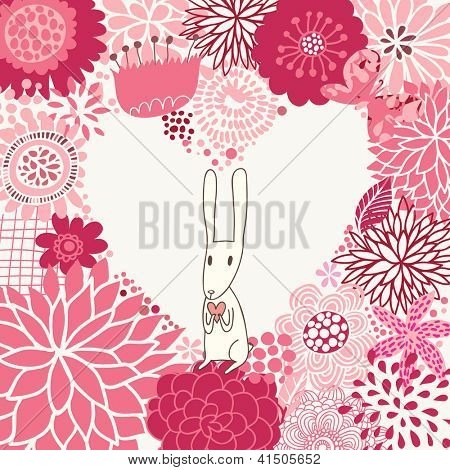 Romantic floral background with cute rabbit in cartoon style