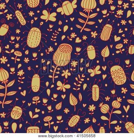 Cute meadow concept. Cartoon floral seamless pattern
