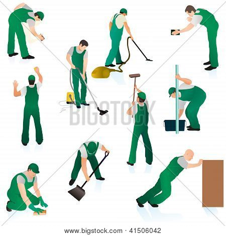 Set Of Ten Professional Cleaners In Green Uniform.eps