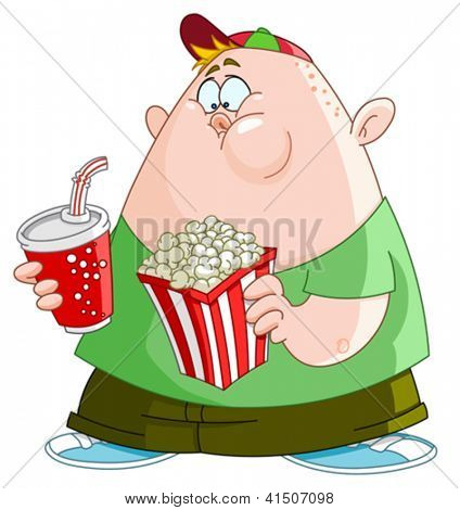 Fat kid with popcorn and soda