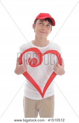 Daydreaming Boy Holding Red Love Heart