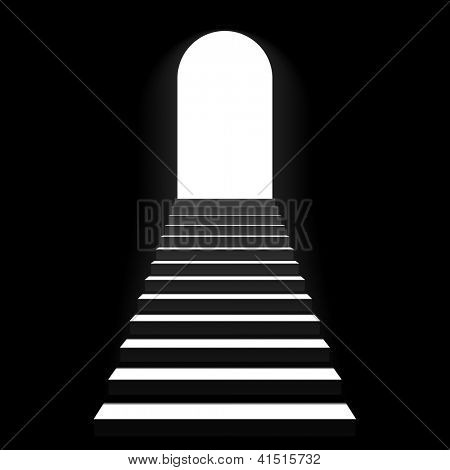Staircase to arch door. Vector.