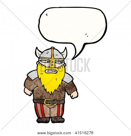 cartoon viking man with speech bubble