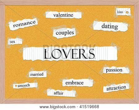 Lovers Corkboard Word Concept
