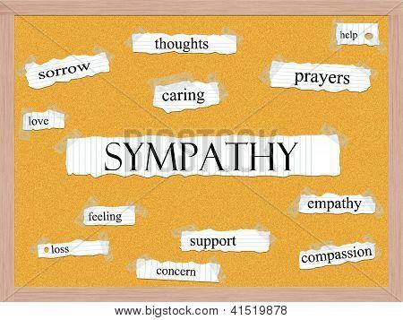 Conceito de palavra de quadro de avisos de simpatia