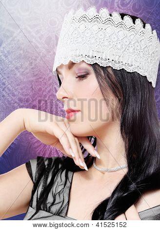 Tender Woman Fashion Studio Portrait