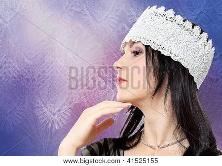 Young Woman Profile Fashion Studio Portrait