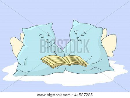 Cartoon animals angels read book