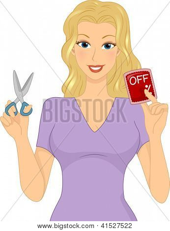 Illustration of a Girl Holding a Discount Card in One Hand and a Pair of Scissors in the Other
