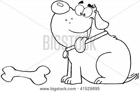 Outlined Happy Fat Dog With Bone