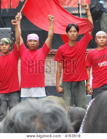Clenched Fist Militant Youth Activist With Red Flag