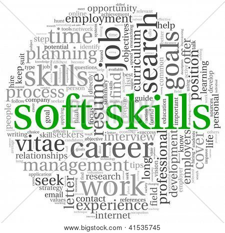 Soft skills concept in word tag cloud on white