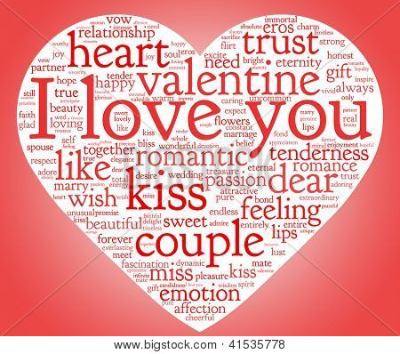 I love you and valentine concept in word tag cloud on white background
