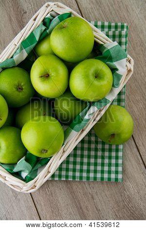 Green Apples In White Basket