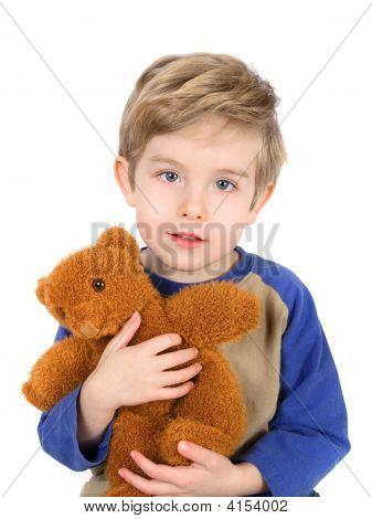 Boy Hugging His Bear