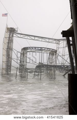 Seaside Heights, Nj - Jan 13: The Casino Pier Star Jet Roller Coaster Submerged In The Sea On Januar