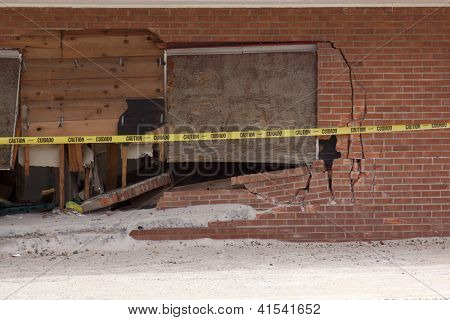 SEASIDE HEIGHTS, NJ - JAN 13: A broken door frame and wooden boards of a building destroyed when Hurricane Sandy struck the shore in October 2012 on January 13, 2013 in Seaside Heights, New Jersey.
