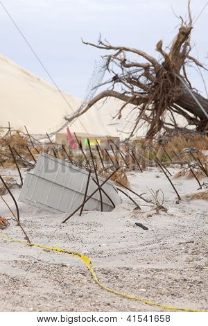 SEASIDE HEIGHTS, NJ - JAN 13: An uprooted tree and bent rebar in the sand on January 13, 2013 in Seaside Heights, New Jersey. Clean up continues 75 days after Hurricane Sandy struck in October 2012.
