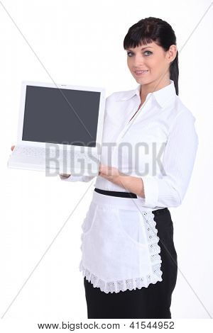 Waitress holding a laptop