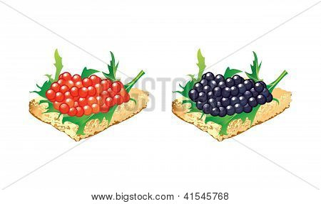 Canapes With Black And Red Caviar