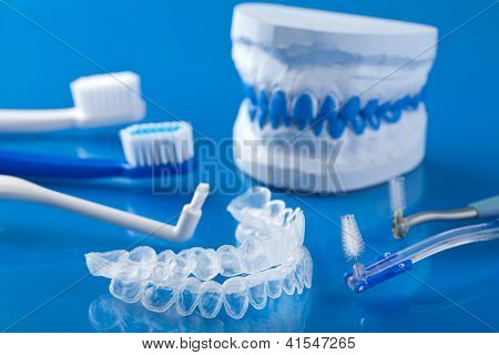 individual tooth tray for whitening and toothbrushes