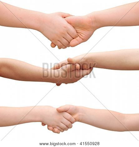 Handshake between a two children isolated on white