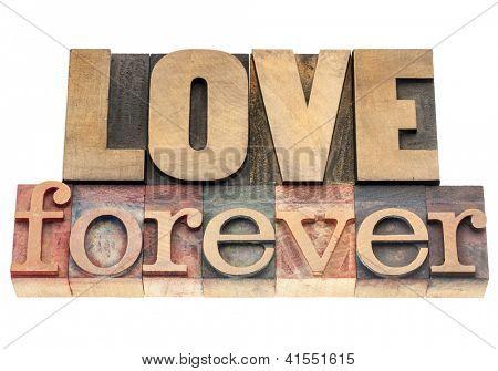 amor para sempre - texto isolado em blocos de impressão tipografia vintage tipo madeira