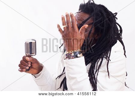 Rasta Singer With Microphone