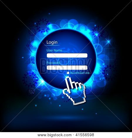 illustration of login page with hand cursor on technology background