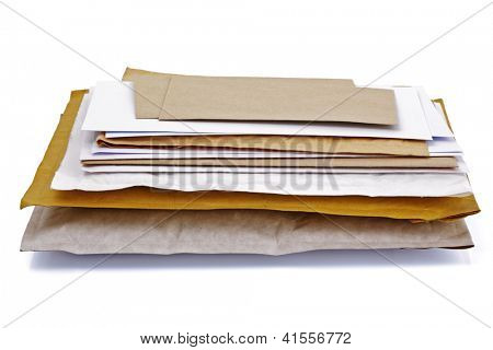 Mail or post concept envelopes, letters,  bills and packages