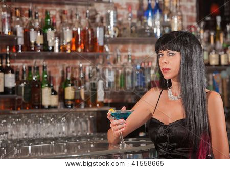Sultry Woman With Martini