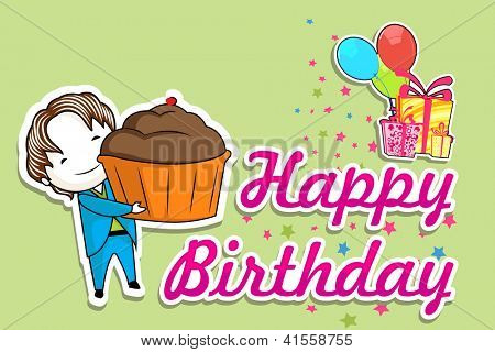 illustration of boy with cake in birthday background