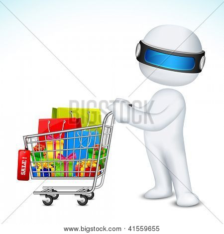 illustration of 3d man in vector fully scalable with shopping cart full of product