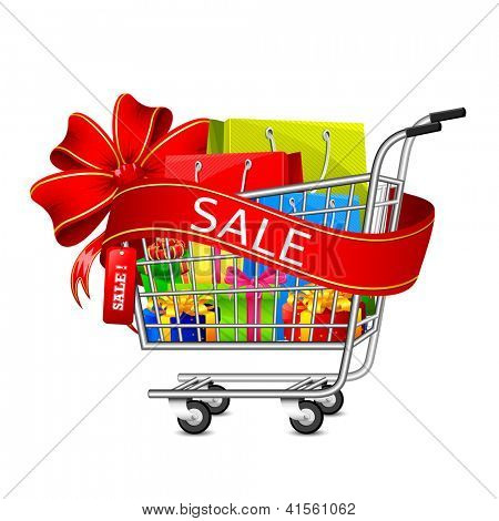illustration of cart full of shopping bag and gift box with sale ribbon