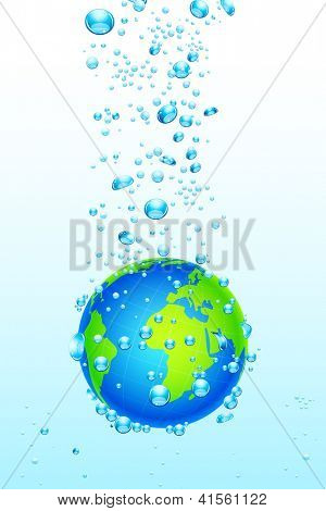 illustration of earth sinking into water on abstract background