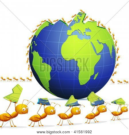illustration of row of ants forming world showing teamwork
