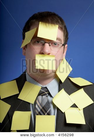 Businessman With Yellow Notes