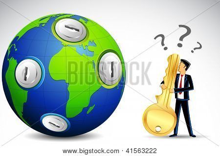 illustration of confused man with key standing in front of earth with keyhole