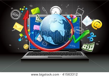 illustration of globe and business item coming out of laptop