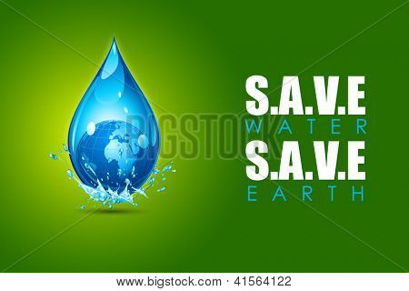 illustration of earth in water drop showing save water save earth concept