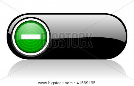 minus black and green web icon on white background