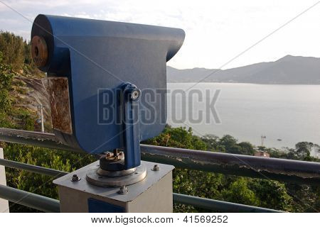 Viewfinder at Mirante Ponto de Vista in Florianopolis, Santa Catarina, Brazil.