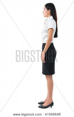Full body side view of beautiful Asian young woman standing on white background