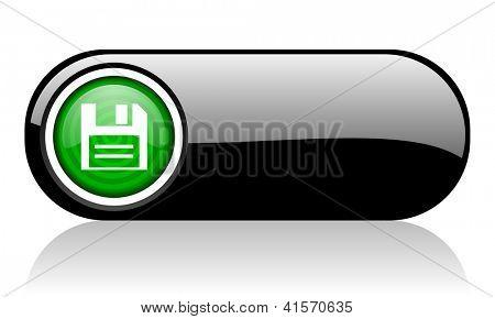 Scheibe schwarz und grün-web-Symbol auf weißem Hintergrund