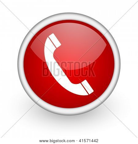 phone red circle web icon on white background