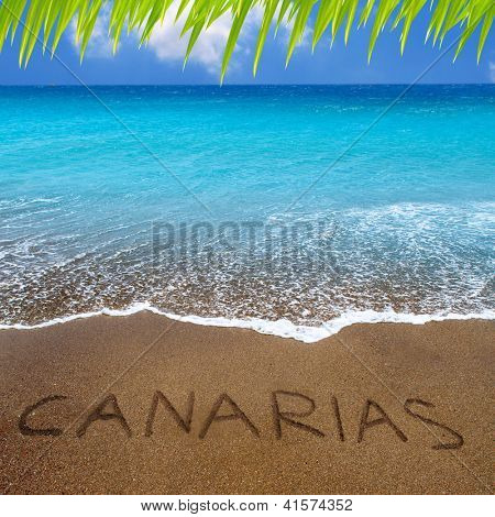 Brown beach sand with written word Canarias in Canary islands [ photo-illustration]