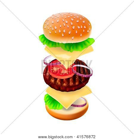 Hamburger - the view of every ingredient.