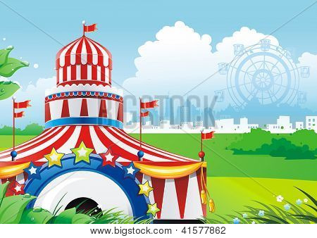 Traveling circus under blue sky. Classical Vector illustration.