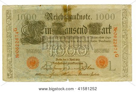 Front View Of The Old German Banknote