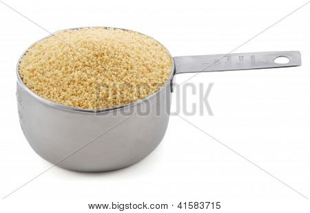 Cous Cous Presented In An American Metal Cup Measure